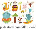 Big set of funny cartoon wild animals.  50135542