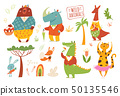 Big set of cartoon forest wild animals. 50135546