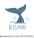Iceland nature vector symbol big blue whale 50135561