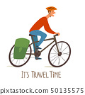 Vector illustration of a Cycling traveller with text 50135575