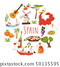 Nine vector symbols of Spain. Culture, food, ship  and archtecture.  50135595