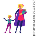 Mother and her children playing together in superhero costumes 50138207