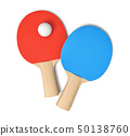 3d rendering of two ping pong rackets with red and blue rubbers and one white ping pong ball viewed 50138760
