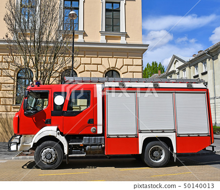Fire truck on the city street 50140013