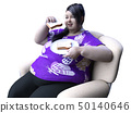 Fat woman eating bread 50140646