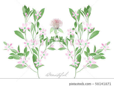 Pastel watercolor flowers and leaves 50141871