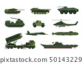 Set of isolated war or military vehicle, ship 50143229