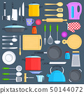 Kitchen tools, cookware and kitchenware flat icons set 50144072