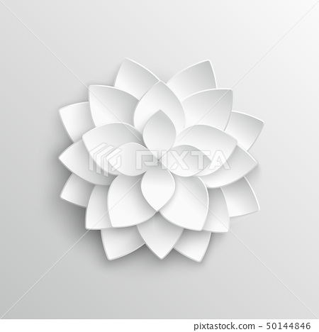 White paper 3d lotus flower in origami style vector illustration 50144846