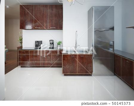 Modern kitchen with wood furniture 50145373