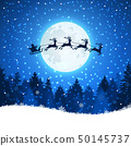 Christmas background with Santa and deers flying on the sky 50145737