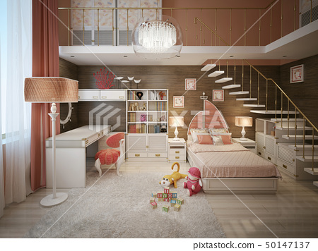 Children's room for a girl in pink 50147137