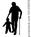 Grandfather with stick and child walking 50149056