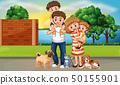 Happy family in street scene 50155901