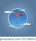 Skydiver flying with parachute. in white frame. 50158643