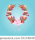 wreath of tulips on a white background vector 50158648