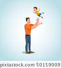 Smiling Father Character Playing with Little Son 50159009