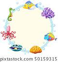 Cute sea creature border 50159315