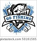 Fishing logo. Bass fish with club emblem. Fishing theme vector illustration. 50161565