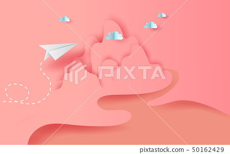 3D Paper art and craft of landscape  white paper 50162429