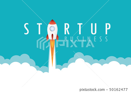 startup business text concept rocket launch with smoke 50162477