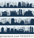 Industrial vector skylines. Modern factory and works building silhouettes 50163411