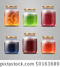 Glass jar with with jam and fruit marmalade vector set 50163689