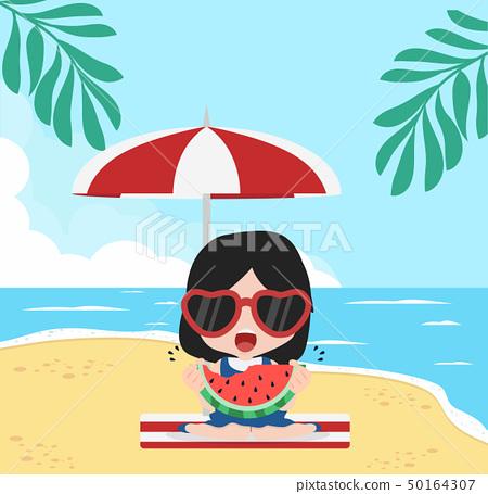 girl eat fresh  watermelon bite with Summer  Beach 50164307