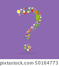 question mark with vegetables pattern 50164773