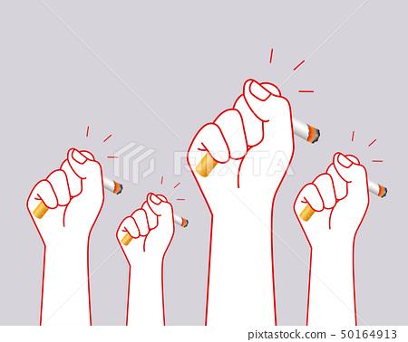 Human hands crushing cigarette.  50164913
