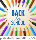 Learning and school education vector concept. Back to school background with 3d colored pencils 50165724