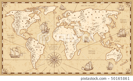 Vintage physical world map with rivers and mountains vector illustration 50165861
