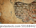 Empty Old Brick Wall Texture. Painted Distressed Wall Surface. Grungy Wide Brickwall. Grunge Red 50168442