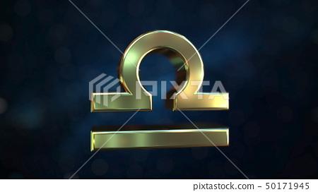 Gold Libra Zodiac sign, 3D rendering 50171945