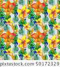 Seamless pattern With Tropical Flowers. Watercolor Background 50172329