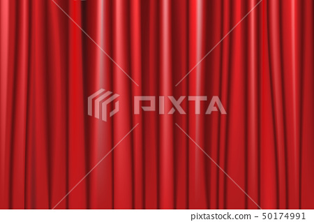 Theater red curtain with spot lighting. 50174991