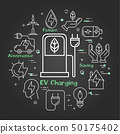 Vector black linear banner of ev charging 50175402