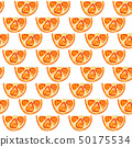 Seamless pattern with slices of orange. 50175534