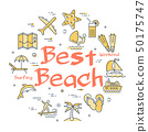 Colorful icons in summer best beach theme 50175747