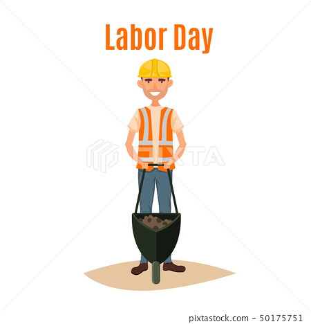 Labor day 1st May word and worker man cartoon vector illustration 50175751