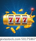 Winner gambling vector background with slot machine. Casino jackpot concept 50175867