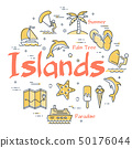 Colorful icons in summer islands theme 50176044