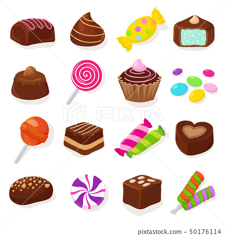 Cartoon black chocolate sweet candies and lollipops vector set 50176114