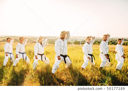 Karate class work out the stand, training in field 50177189