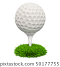 Golf ball on the stand in the grass, 3D rendering 50177755