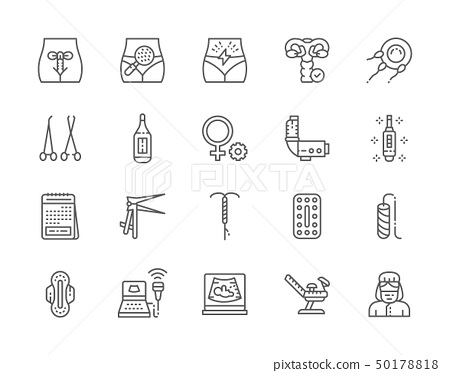 Set of Gynecology Line Icons. Thermometer, Pregnancy Test, Tampon and more 50178818