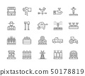 Set of Farming and Agriculture Line Icons. Farmer, Tractor, Millwheel and more. 50178819