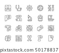 Set of Cancer and Chemotherapy Line Icons. Oncology, Sarcoma, Leukemia and more. 50178837