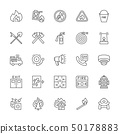 Set of Firefighter Line Icons. Fireman, Evacuation Plan, Hydrant and more. 50178883