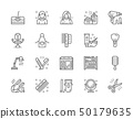 Set of Barbershop and Beauty Salon Line Icons. Pack of 48x48 Pixel Icons 50179635